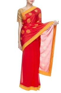 Orange silk sari with floral prints