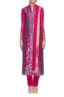 Hot pink & turquoise embroidered kurta set