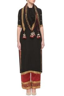 Black &  red zardozi embellished kurta set