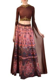 Dark brown embellished blouse with printed skirt