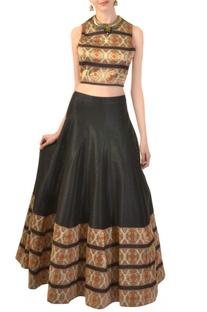 Black & ivory zari work crop top & skirt