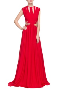 Cherry red gown with 3D floral embellishments