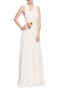 White pleated halter neck gown