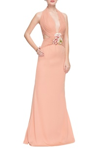 Smoky peach halter neck pleated gown