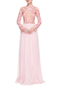 Baby pink & white embroidered gown