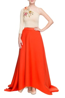 Beige embellished crop top & orange skirt