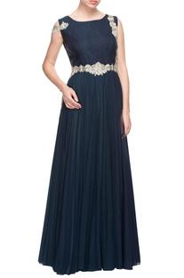 Navy blue torso embellished gown
