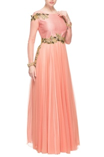 Pink silk and net embroidered gown