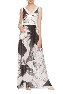 White & black printed low back maxi dress