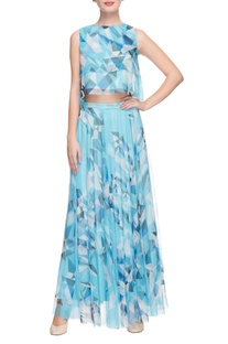 Sky blue geometric printed crop top with skirt