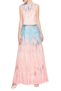 Pastel blue & baby pink shaded top & pleated skirt