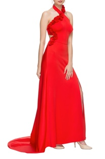 Red halter neck high low gown