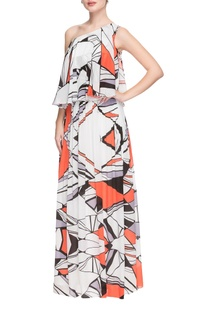 White one shoulder geometric printed gown