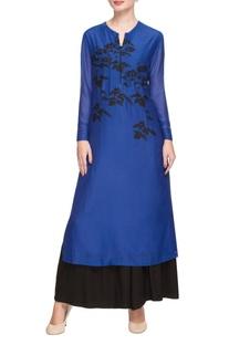 Midnight blue & black threadwork kurta