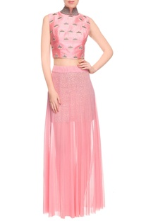 Pink embroidered crop top and skirt-drape set