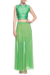Pastel green crop top & skirt