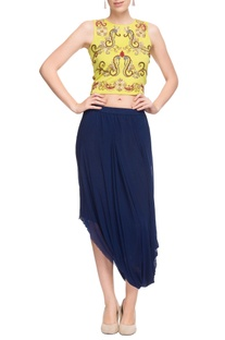 Lemon yellow crop top & navy blue draped skirt