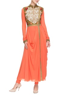 Peach embroidered kurta & churidar