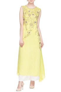 Pastel yellow zipper embroidered kurta & palazzo