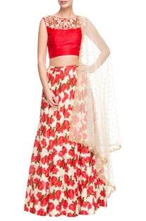 Red and white floral printed crop top and lehenga set