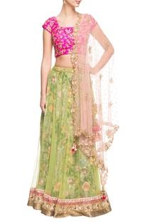Pink and green floral lehenga set