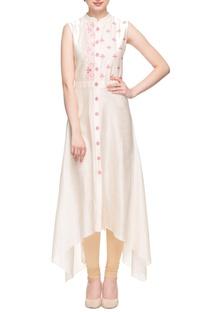 Peach high-low embroidered kurta