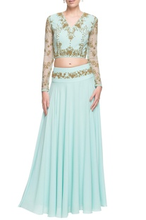 Pastel blue embellished open back crop top & skirt