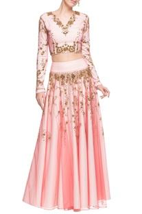 Pastel pink embellished open back crop top & skirt