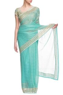 Sky blue & gold embroidered sari