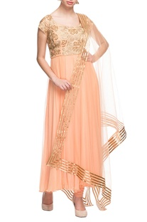 Peach & gold rose embroidered anarkali set