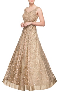Light gold embroidered gown