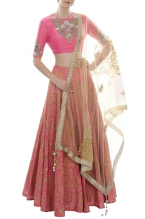 Pink & gold floral embroidered lehenga set