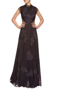 Black tucked gown