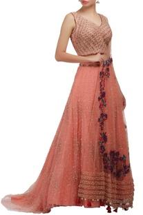 Peach embellished lehenga set