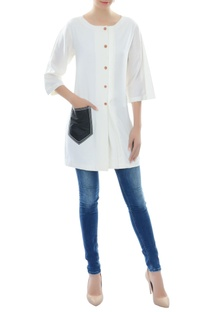 White kurta with patch pocket
