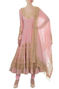 Baby pink & gold sequin embellished anarkali set