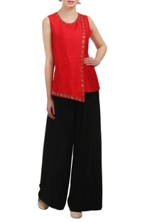 A red layered sequin embellished top