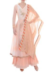 Peach kurta set with skirt