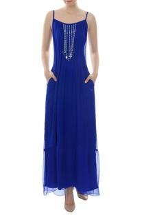 Royal blue maxi dress with tassels