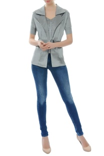 Grey collared jacket top