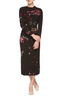 Black sheath dress with quirky hearts and dragonfly prints