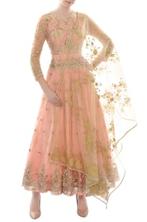 Peach sequin & bead work anarkali with dupatta