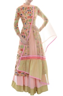 Pink anarkali set with colorful floral thread work