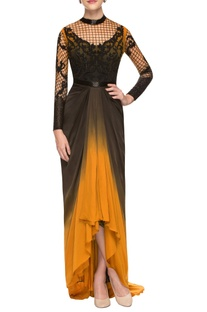 Yellow & black gown