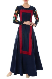 Navy blue embroidered anarkali kurta