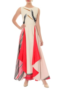 Off white & red layered dress