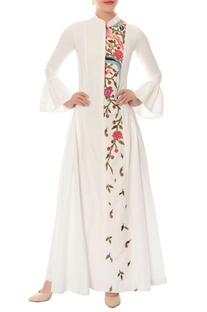 Ivory floral embroidered maxi dress