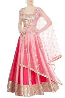 Rose pink embellished lehenga set