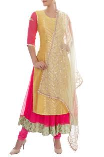 Pink and yellow kurta set