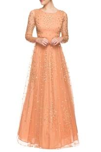 Light orange sequined gown